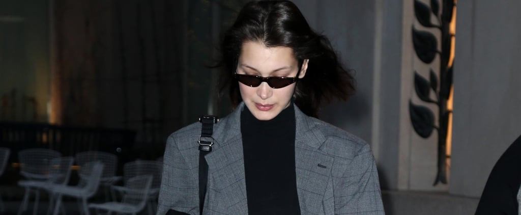 Bella Hadid Wearing a Suit With Nike Sneakers