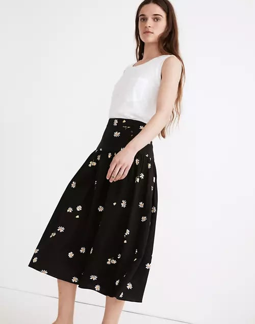 Madewell Linen-Blend Buttoned Yoke Midi Skirt in Lazy Daisies
