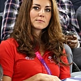 Kate wore a red Team GB polo neck to watch track cycling.