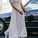 UO Devin Polka Dot Tie-Front Midi Dress