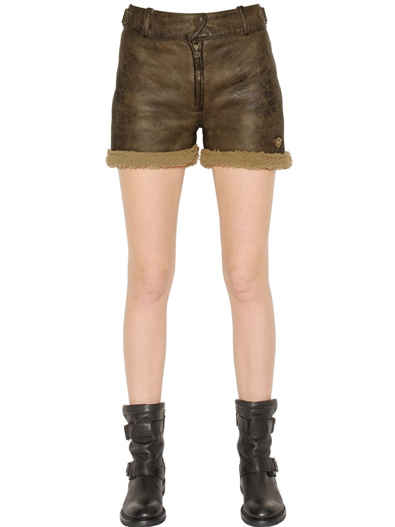Matchless London Kate Shearling Worn Leather Shorts