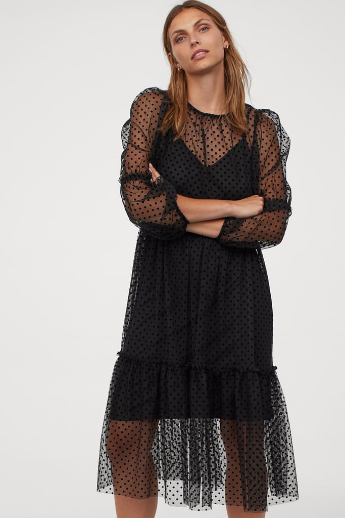 Puff-Sleeved Tulle Dress