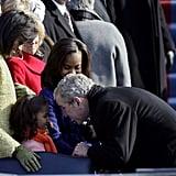 Making friends with Sasha Obama at the inauguration