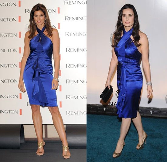Cindy Crawford and Demi Moore Wear Blue Zac Posen Dress