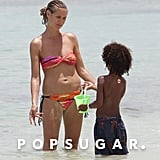Heidi Klum played with her kids in the ocean.