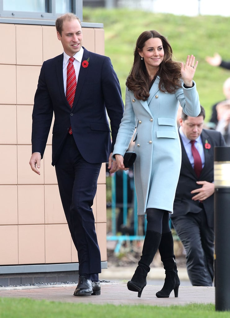 The Duke and Duchess of Cambridge spent their Saturday doing royal work when they visited the Valero Pembroke Refinery in Wales. Pregnant Kate bundled up against the chilly weather in an ice-blue Matthew Williamson coat, which gave a hint of her growing baby bump. The couple's visit is to celebrate the refinery's 50 years of success ever since it was officially opened up by Prince William's great-grandmother Queen Elizabeth the Queen Mother. The duke and duchess unveiled a special painting meant to mark the refinery's anniversary and were also given a gift of their own — a toy Valero truck for Prince George.  After recovering from a battle with severe morning sickness over the past few months, Kate has been slowly increasing her royal appearances. She made her first post-pregnancy-announcement appearance back in October when she stood by William's side to welcome the president of Singapore to the UK for an official state visit. That same week, she attended two other galas for organisations close to her heart, including Action on Addiction. After a short family vacation in Scotland, Kate is gearing up for more royal work and will attend two engagements next week.