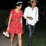 Katy Perry and John Mayer walked to the car together after leaving a party.