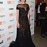 For the Toronto Film Festival, Keira continued the glamour in a black lace and embellished Elie Saab gown.
