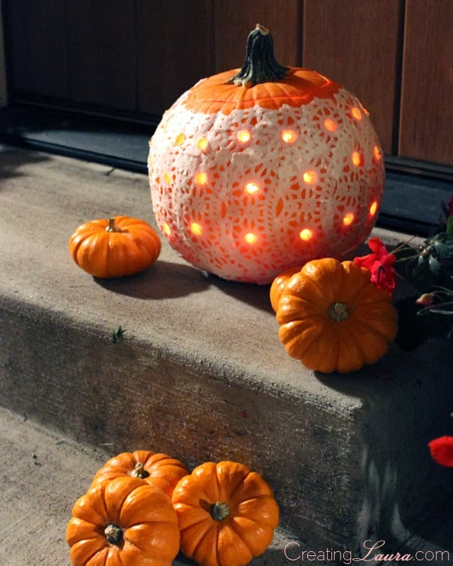 A doily pumpkin drilled pumpkins inspiration popsugar