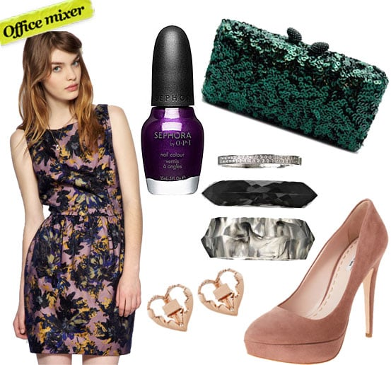 Darling Tulip Dress In Winter Floral Print ($129), Sephora by OPI Just a Little Dangerous Nail Colour ($9), Kotur Green Sequin Clutch ($375), By Malene Birger Serinan Bracelet Trio ($155), Dominic Jones Bear Trap Earrings ($280), Miu Miu Taper Toe Pump ($560)