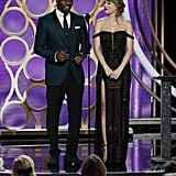 Idris Elba and Taylor Swift at the Golden Globes 2019