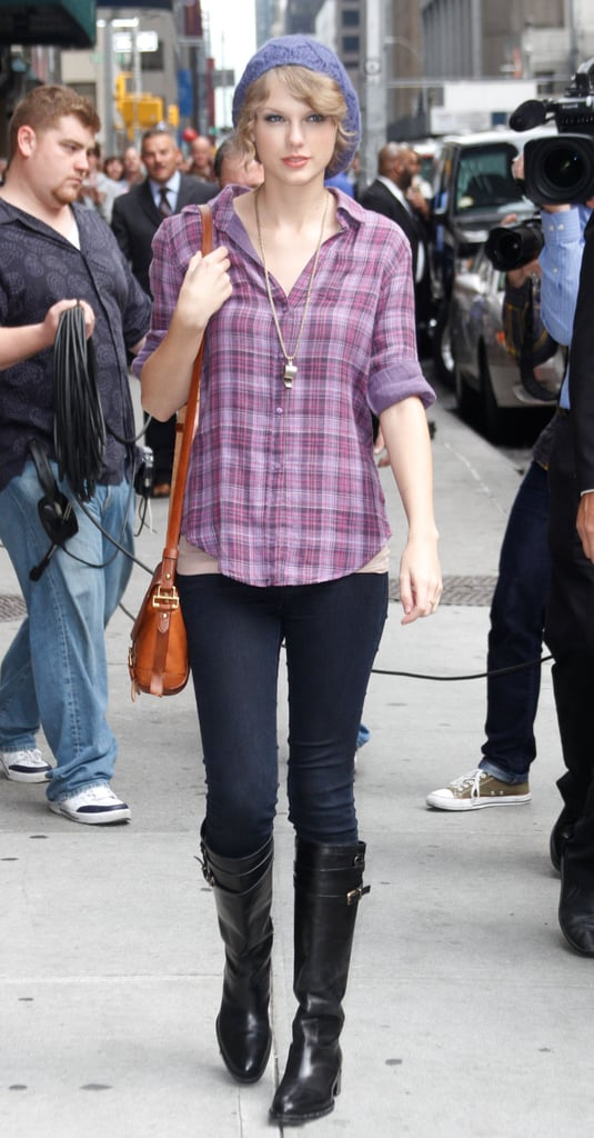 Taylor Tried Jeans With a Plaid Button-Down and Sleek Buckled Boots