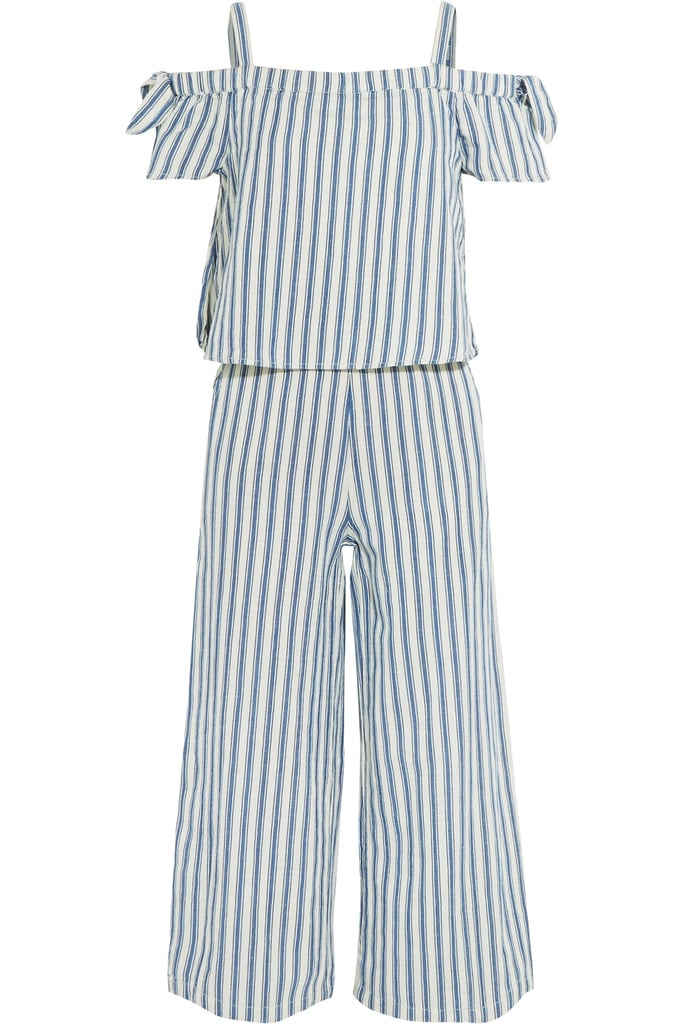 Madewell Cold-Shoulder Cropped Striped Cotton and Linen-Blend Jumpsuit