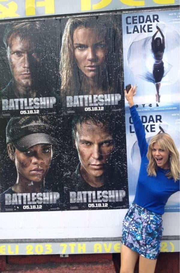 Brooklyn Decker posed in front of her Battleship street poster.  Source: Twitter User BrooklynDecker