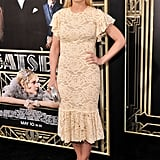 Jennifer Morrison donned a fitted off-white lace Dolce & Gabbana dress paired with House of Lavande Vintage jewelry.