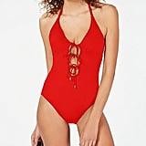 La Blanca Solid Tie-Front Halter-Neck One-Piece Swimsuit