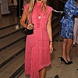 Amelia also sported pink when she attended the V&A Summer party.