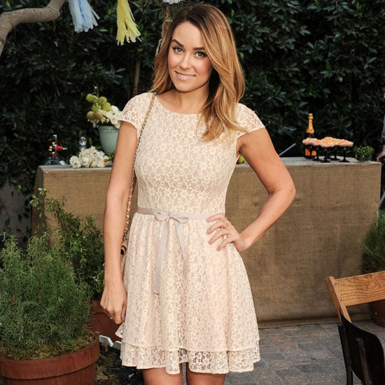 Lauren Conrad Wearing Nude Lace Dress