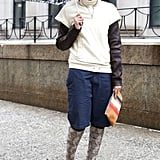 Sporty layers get a high-fashion complement with knee-high Wang boots.