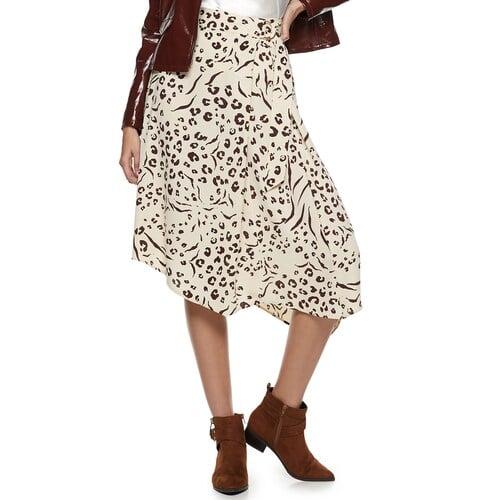 Nine West Petite Asymmetrical D-ring Belted Skirt