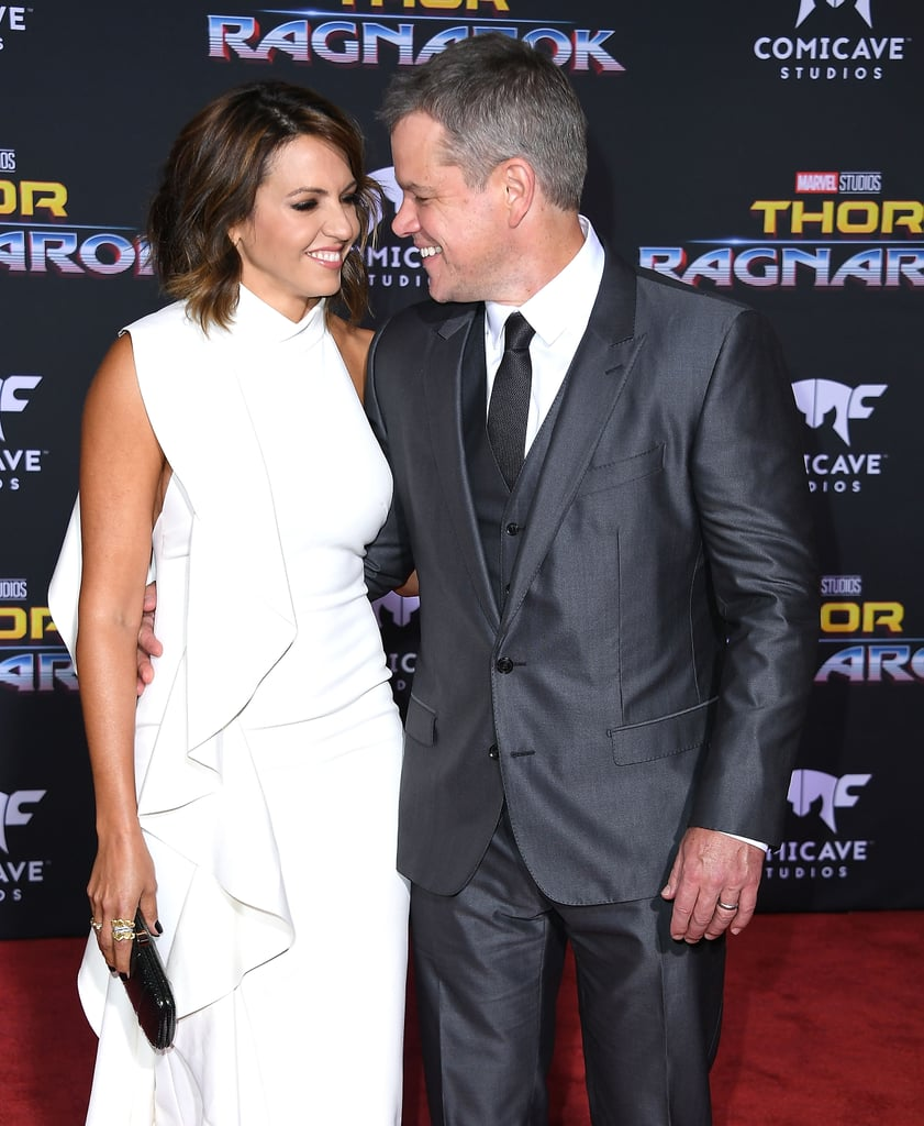 "Matt Damon was all smiles when he attended the Thor: Ragnarok premiere in LA with his wife, Luciana Barroso, on Tuesday. The carefree outing comes on the heels of Matt publicly denying that he tried to kill a 2004 New York Times exposé surrounding multiple allegations about Harvey Weinstein's sexual misconduct. According to Sharon Waxman, a former reporter for the publication, her story was ""gutted"" after she received phone calls from Matt and Russell Crowe ""vouching"" for Harvey and then-Miramax executive Fabrizio Lombardo.  ""My recollection was that it was about a one minute phone call,"" Matt told Deadline about his previous chat with Sharon. ""Harvey had called me and said, 'They're writing a story about Fabrizio . . . and it's really negative. Can you just call and tell her what your experience with Fabrizio was?' So I did, and that's what I said to her. It didn't even make the piece that she wrote. As I recall, her piece just said that Russell and I had called and relayed our experience with Fabrizio. That was the extent of it and so I was very surprised to see it come back. I was never conscripted to do anything.""      Related:                                                                                                           Celebrities Speak Out Against Harvey Weinstein Amid His Sexual-Assault Allegations               In addition to clearing up allegations surrounding the New York Times article, the actor also addressed the recent criticism he has faced from actresses like Jessica Chastain and Rose McGowan for not speaking up sooner. ""Look, even before I was famous, I didn't abide this kind of behavior,"" he explained. ""But now, as the father of four daughters, this is the kind of sexual predation that keeps me up at night."" Even though he did five or six movies with Harvey, he claimed that he ""never saw"" any of the ""type of predation"" Harvey is being accused of. ""I would have stopped it,"" he added. ""And I will peel my eyes back now, father than I ever have, to look for this type of behavior. Because we know that it happens. I feel horrible for these women and it's wonderful they have this incredible courage and are standing up now."""