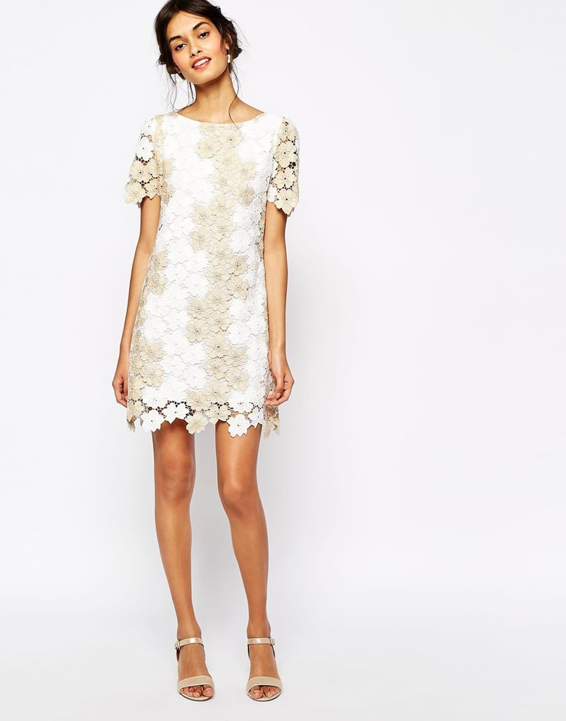 soma london heavy metallic crochet lace shift dress 145 the 3 white dresses you need for