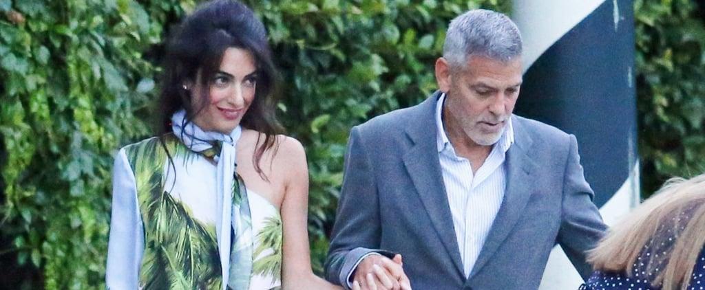 Amal Clooney Blue Car Print Dress in Italy 2018