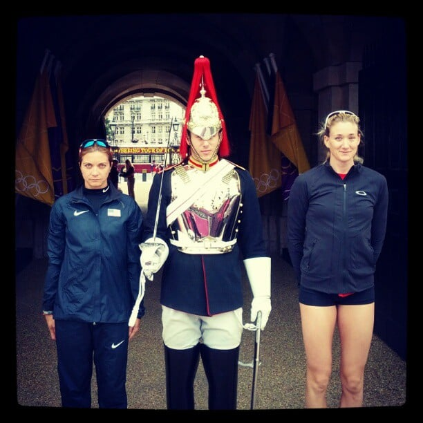 Beach volleyball teammates Kerri Lee Walsh and Misty May Treanor posed for a photo with one of London's famous guards. Source: Instagram user kerrileewalsh
