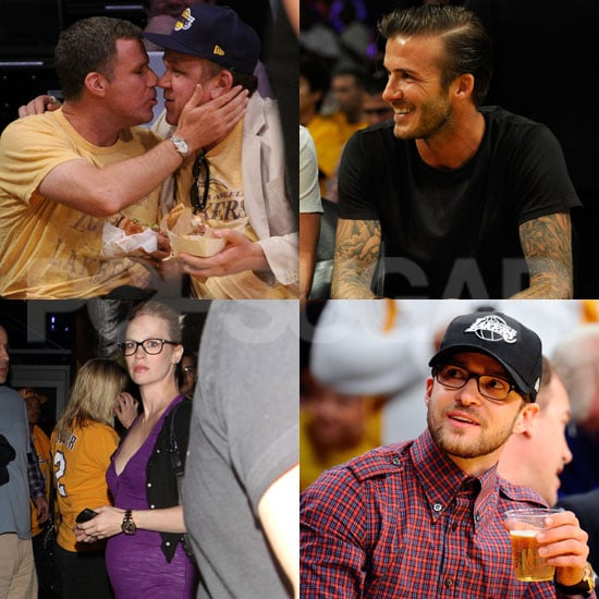 January Jones Pregnant Pictures at Lakers Game With David Beckham and Justin Timberlake