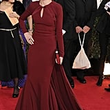 Naomi Watts picked another fishtail gown, this time choosing a classic burgundy Zac Posen version for the Golden Globes in 2013.