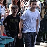 Brooklyn Beckham led the way for his brothers, Romeo and Cruz Beckham and sister Harper Beckham at Disneyland with parents Victoria Beckham and David Beckham.