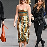 Florence Pugh's Striped Sequin Dress on Jimmy Kimmel Live