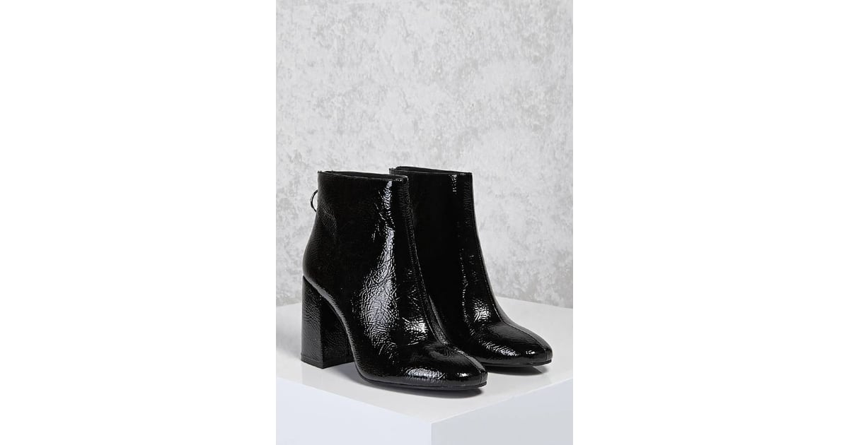 af95cf0b1ce Forever 21 Faux Patent Leather Ankle Boots