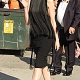 Anne Hathaway headed inside to meet with David Letterman.