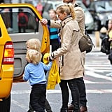 Naomi Watts and Liev Schreiber loaded their family into an NYC taxi.