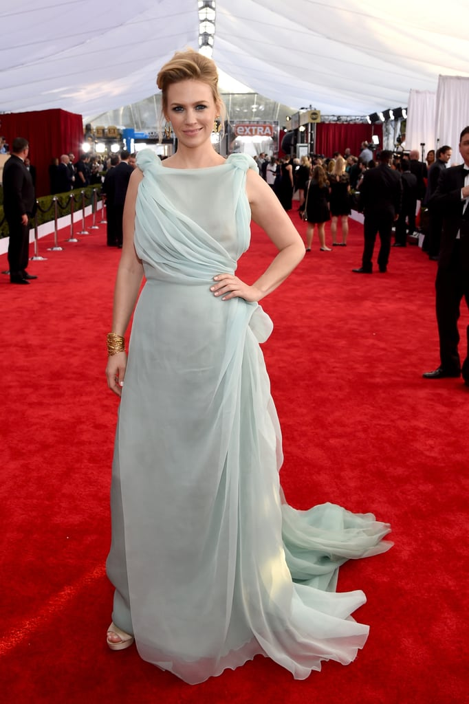 January Jones in an ice-blue Schiaparelli Couture gown.