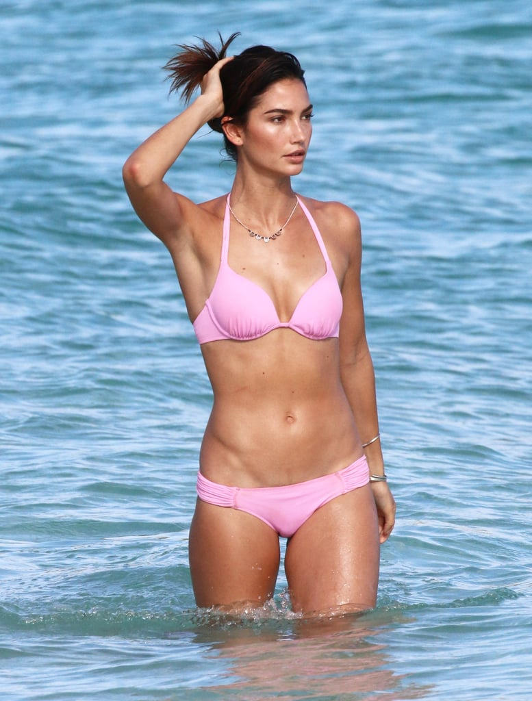 In 2015, Lily Aldridge showed off her fit figure during a photo shoot in St. Barts.