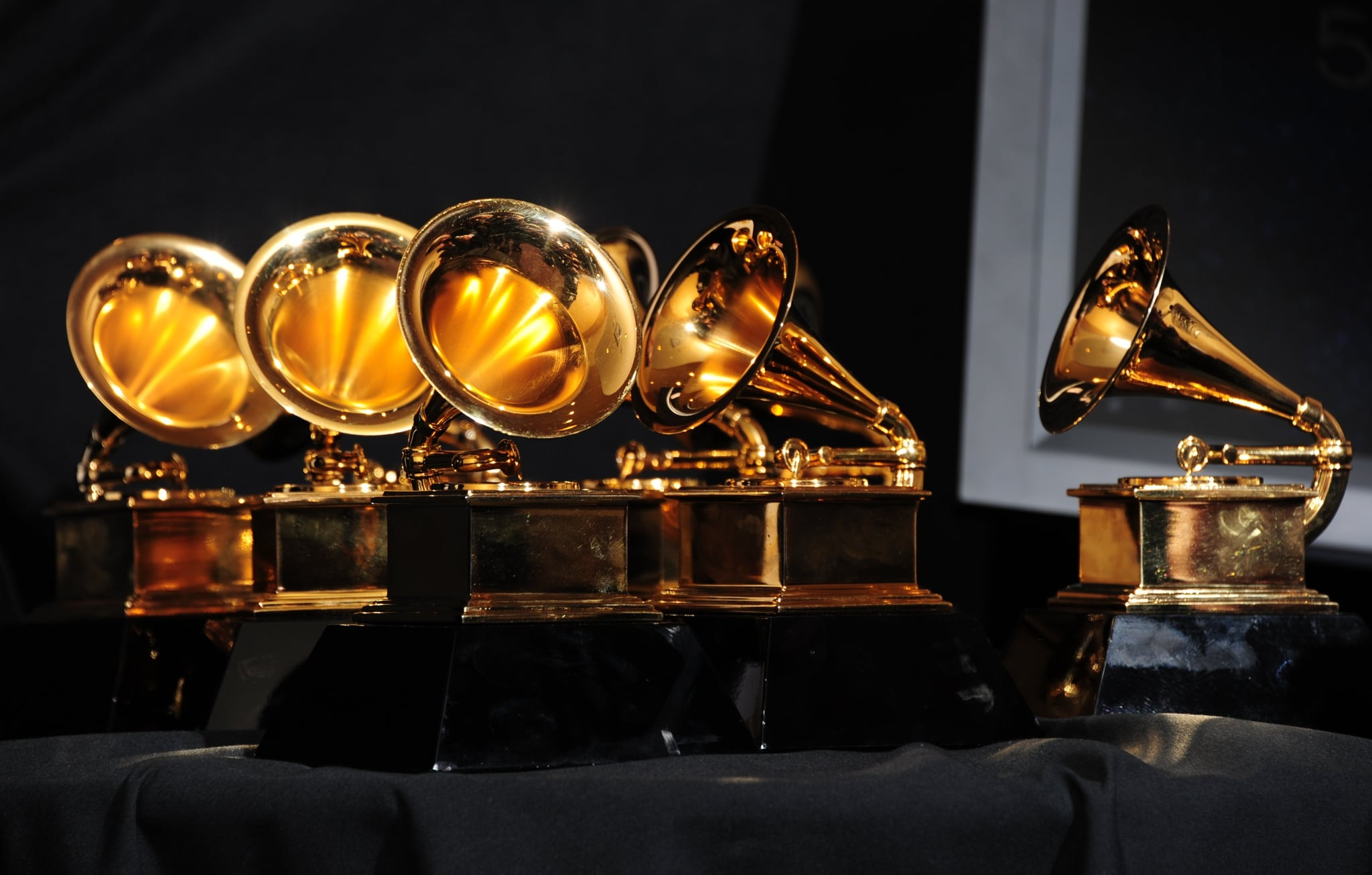 The six trophies for Adele are displayed backstage at the 54th Grammy Awards in Los Angeles, California, February 12, 2012. AFP PHOTO/  FREDERIC J. BROWN (Photo credit should read FREDERIC J. BROWN/AFP via Getty Images)