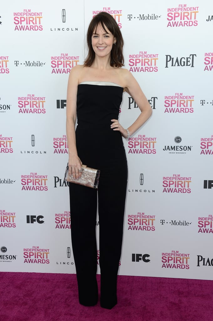 Rosemarie Dewitt donned a sleek black strapless Stella McCartney jumpsuit to the Spirit Awards.