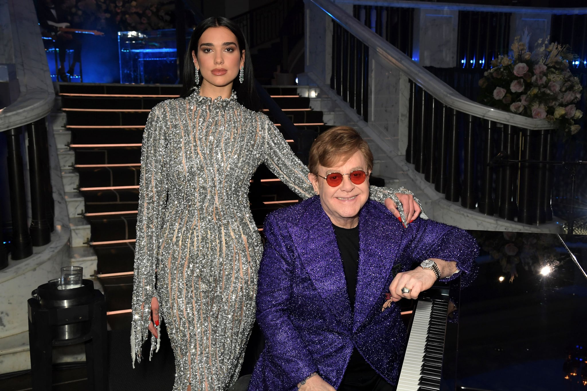 UNSPECIFIED - APRIL 25: In this image released on April 25, (L-R) Dua Lipa and Sir Elton John attend the 29th Annual Elton John AIDS Foundation Academy Awards Viewing Party on April 25, 2021. (Photo by David M. Benett/Getty Images for the Elton John AIDS Foundation)