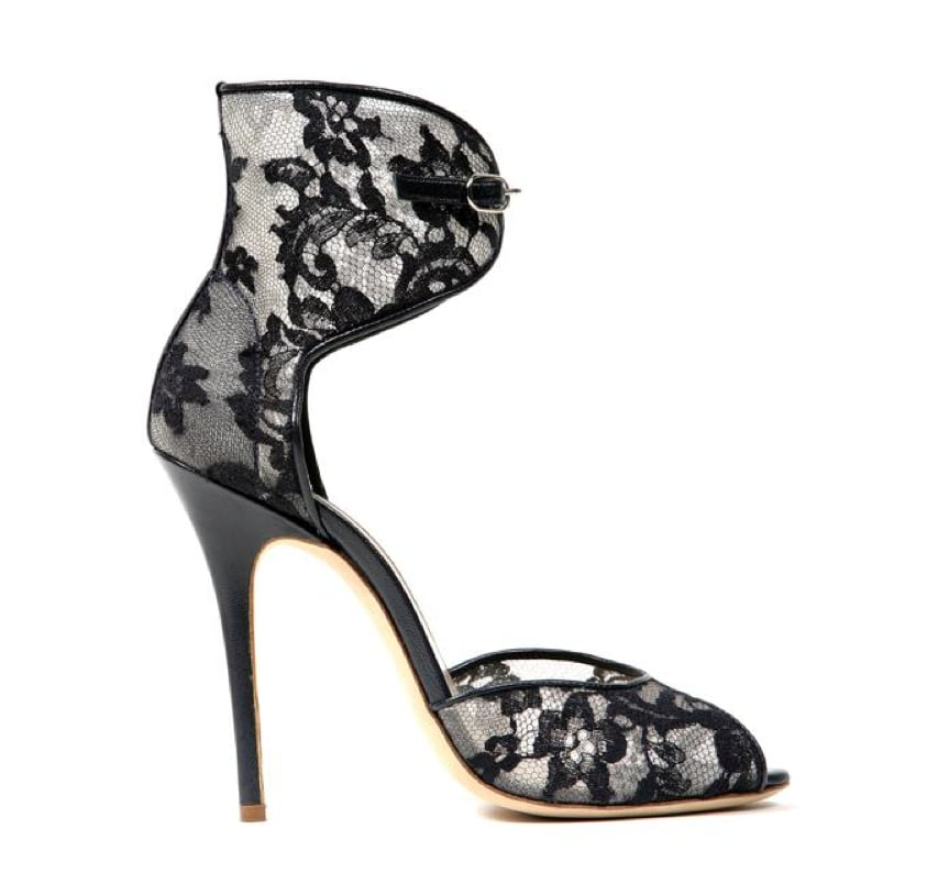 Monique Lhuillier Ink Lace Over Mesh Sandal ($795)