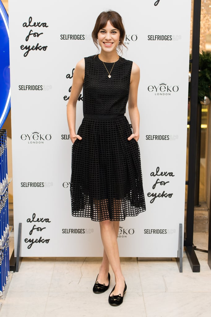 Alexa Chung played with texture at the launch of her makeup collection, in a waffle-fabric dress and Charlotte Olympia cat flats.
