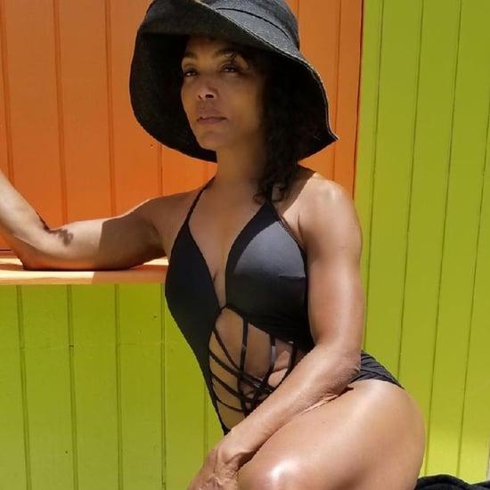Angela Bassett Black Cutout Swimsuit