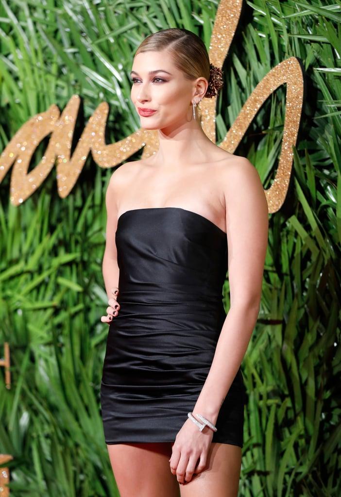 Hailey Baldwin's Black Topshop Dress at Fashion Awards 2017