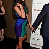 Camila Alves's growing belly stuck out under her bold colored dress in NYC.