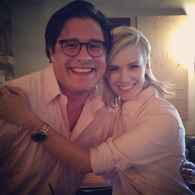 "January Jones and her Mad Men costar Rich Sommer were ""#twinsies."" Source: Instagram user januaryjones"