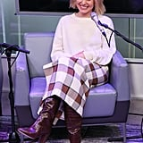Kristen Bell Wears a Staud Skirt and Loeffler Randal Boots in NYC