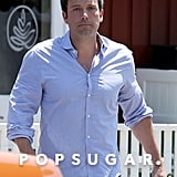 Ben Affleck wore a blue button-down for a meeting in LA.