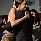 They hugged it out on the red carpet at the LA premiere.