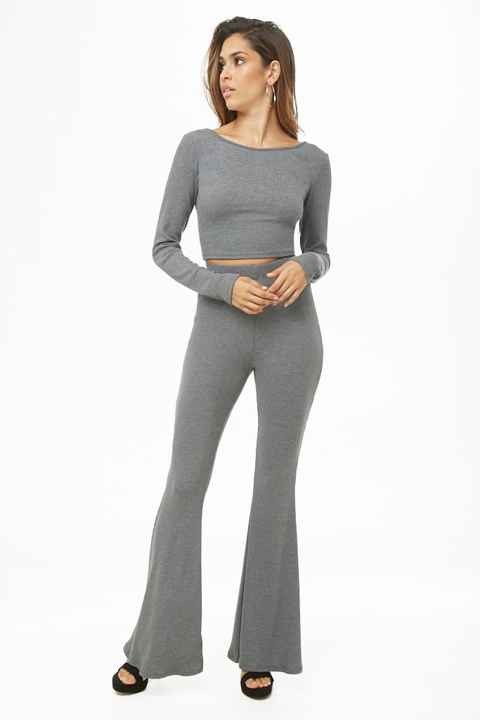 Forever 21 Ribbed Crop Top & Flare Pants Set